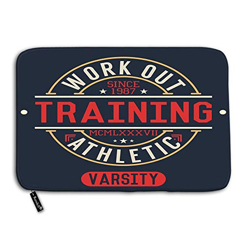 """Randell Bath Mat Non Slip Trening Work Out Badge Applique Doormat for Bathroom and Livingroom 23.6""""(W) X 15.7""""(L) from Randell"""