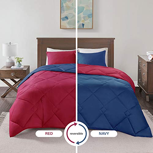 - Comfort Spaces Vixie 3 Piece Comforter Set All Season Reversible Goose Down Alternative Stitched Geometrical Pattern Bedding, Full/Queen, Red/Navy