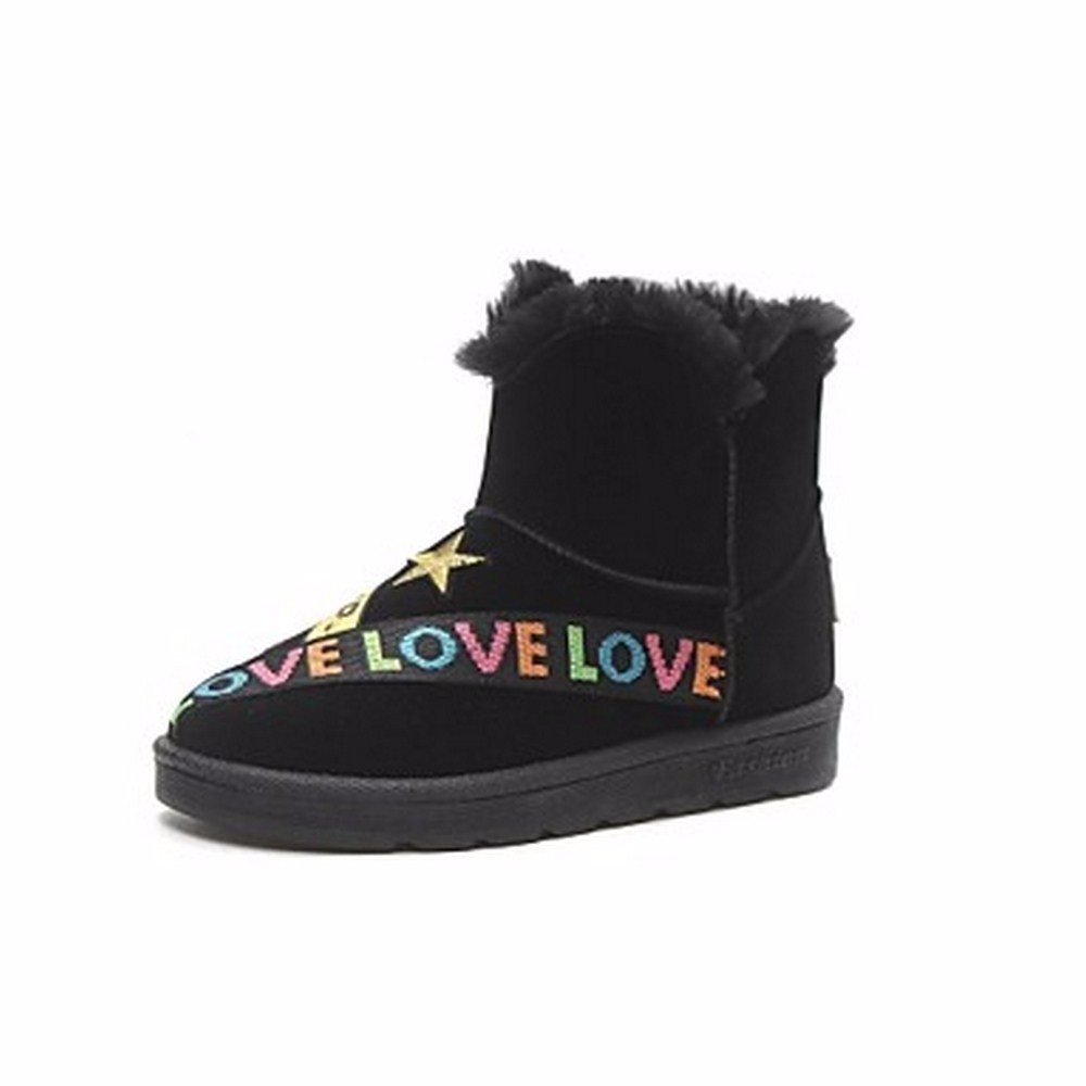 ZHUDJ Zapatos De Mujer Invierno Pu Botas Botas De Nieve Ronda Toe For Casual Caqui Negro Nosotros6.5-7 / UE37 / UK4,5-5 / CN37