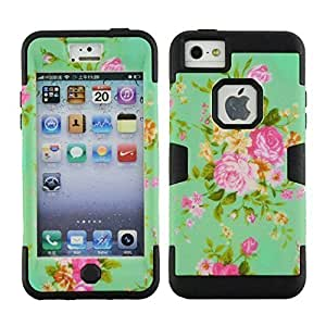 TYHde ipod Touch4 Case, Touch4 Case, Magicsky ipod Touch4 Case with Rose Flower Pattern 3 in 1 Combo Tuff Hybrid Shockproof Case Cover Protective Case for Apple ipod Touch4, 1 Pack(Black) ending