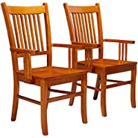 Coaster Set of 2 Dining Arm Chairs Mission Style Medium Brown Finish