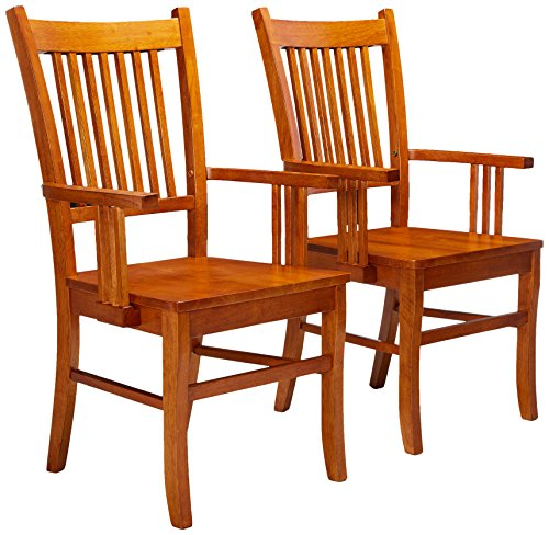 Coaster Set of 2 Dining Arm Chairs Mission Style Medium Brown Finish (Kitchen Chair With Arms)