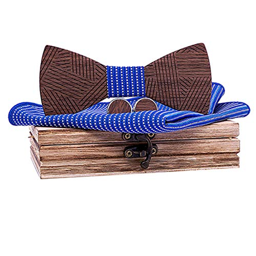 BXzhiri Carved Wooden Bow Tie Manual Wooden Bowtie Mens Bow Tie for Anniversary Birthday Wedding Groomsmen Vintage Style