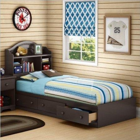 - South Shore Summer Breeze Twin Bookcase Storage Bed Set in Chocolate Finish