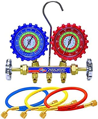 Soft Magic Hose Set PSI Degree C Uniweld QAL3SM-6 Pack of 4 pcs 2-Valve Brass Manifold with LPF Gauges /& 3 ft kPa