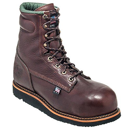 Men's 8in Brown Slip Resistant EH Composite Toe Wedge Boots - Made In The USA (10D)