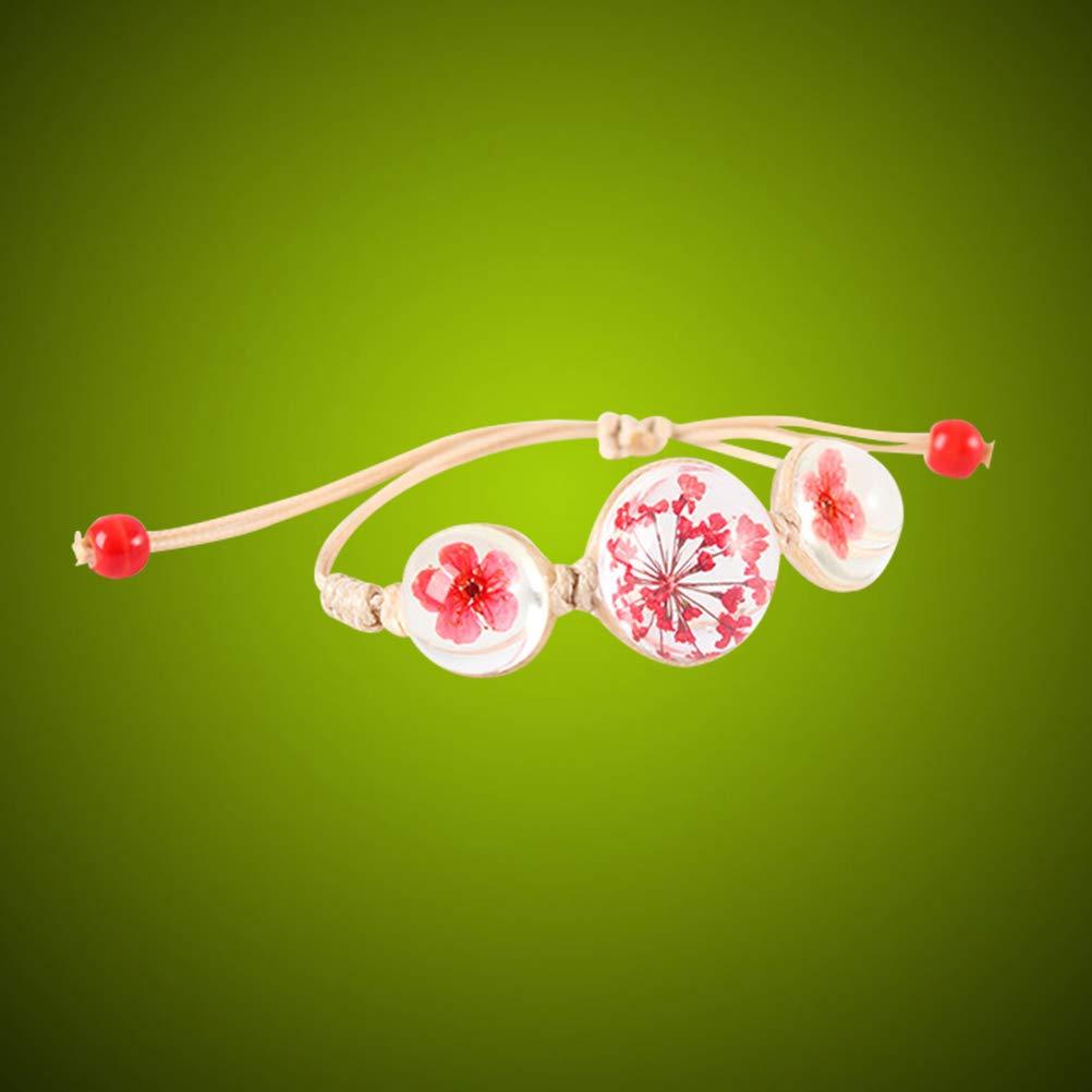BESTOYARD Braccialetto Esemplare pianta Fiore Secco Vetro Intrecciato Braccialetto Vetro Fiore Secco Rosso Regali