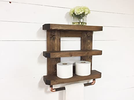 Etonnant Rustic Wooden Bathroom Shelf U0026 Towel Rack / Rod By Mountain Creek Woodworks  (Espresso)