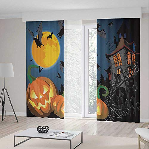 YOLIYANA Window Curtains Halloween Decorations Gothic Halloween Haunted House Party Theme Decor Trick or Treat for Kids