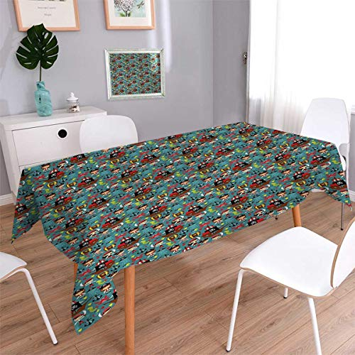 Anmaseven Pirates Square Patterned Tablecloth Illustration of Retro Pirate Adventure Kids Fairytales Cheerful Cartoon Characters Dust-proof Oblong Tablecloth Multicolor Size: W36 x L36 ()