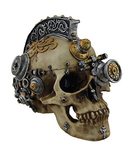 Resin Statues Retro-Futuristic Victorian Steampunk Skull In Metallic Mohawk Headdress 8 X 6.5 X 5.5 Inches - Steampunk Futuristic