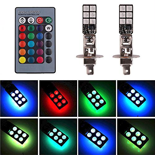- H1 LED RGB Fog Lights Bulb Amber Yellow White Multicolor 16 Color Changing Switch Kit Strobe Lamp Bulbs for Car Trucks Remote Control Switch Error Free Plug and Play 12V 5050SMD Replacement【1797】
