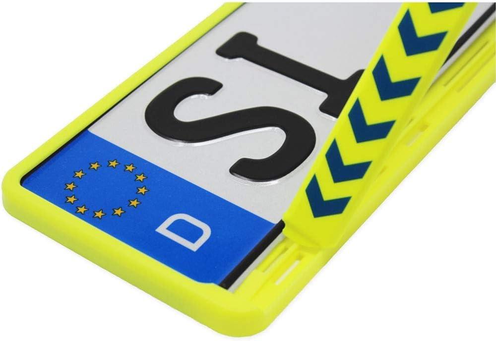Kfz Kennzeichen Halter Rettungsgasse Bilden Neongelb Text Hinweis Rot Universal Nummern Schild Halterung 520 Mm Standard Größe Rahmen Auto
