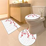 3 Piece Anti-slip mat set Cherry Blossom Apri Springtime Romantic Feminine Illustration Artwork in Soft Colors Non Slip Bathroom Rugs