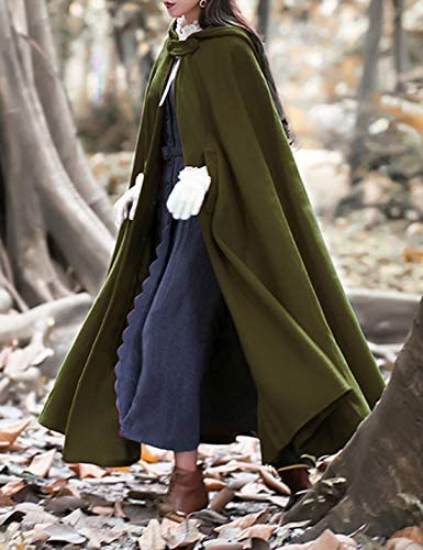 Tanming Womens Casual Solid Wool Blend Cape Outerwear Jacket Coat Cloak with Hood