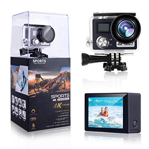 POSIVEEK OY700T 4K 24MP Action Camera 170 Degree Wide Angle 100FT Waterproof Camera Remote Control Sports Camera with Helmet Accessories Kit