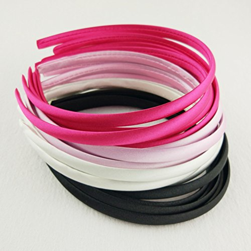 Hixixi 20pcs pack Girls / Women Diy Satin Fabric Ribbon Headbands Width 10mm(5 Black 5 Wihte 5 Pink 5 Rose Color (Diy Old Lady Halloween Costume)