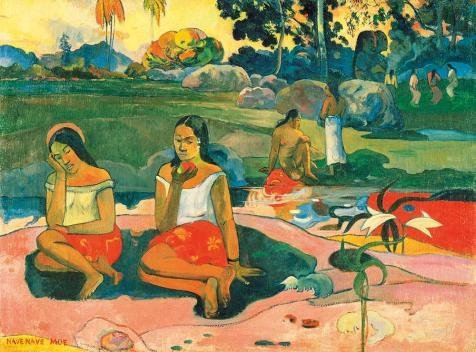 (Oil Painting 'Paul Gauguin-Sacred Spring,Sweet Dreams,1894', 24 x 32 inch / 61 x 82 cm , on High Definition HD canvas prints is for Gifts And Bar, Foyer And Home Theater Decoration, huge )