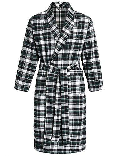 (Latuza Men's Cotton Flannel Robe M Black & Green)