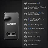 Mpow Aux Blueooth Adapter 3.5mm, Bluetooth Receiver w/Quick Charging 5-Min for 2 Hours Hands-free Calling, Wireless Bluetooth Car Adapter with One-Key On/Off Button, Bluetooth Car Kits for Hi-Fi Music