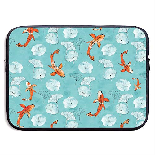 Waterlily Koi in Turquoise Laptop Sleeve Case Bag Cover for Apple MacBook/Asus/Acer/Samsung/DELL/HP/Lenovo/Sony/RCA Computer 15 -
