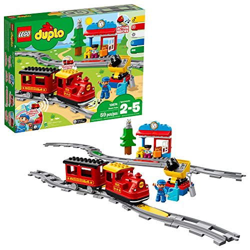 LEGO DUPLO Steam Train 10874 Remote-Control Building Blocks Set  Helps Toddlers Learn, Great Educational Birthday Gift (59 Pieces) (Train Thomas Lego)