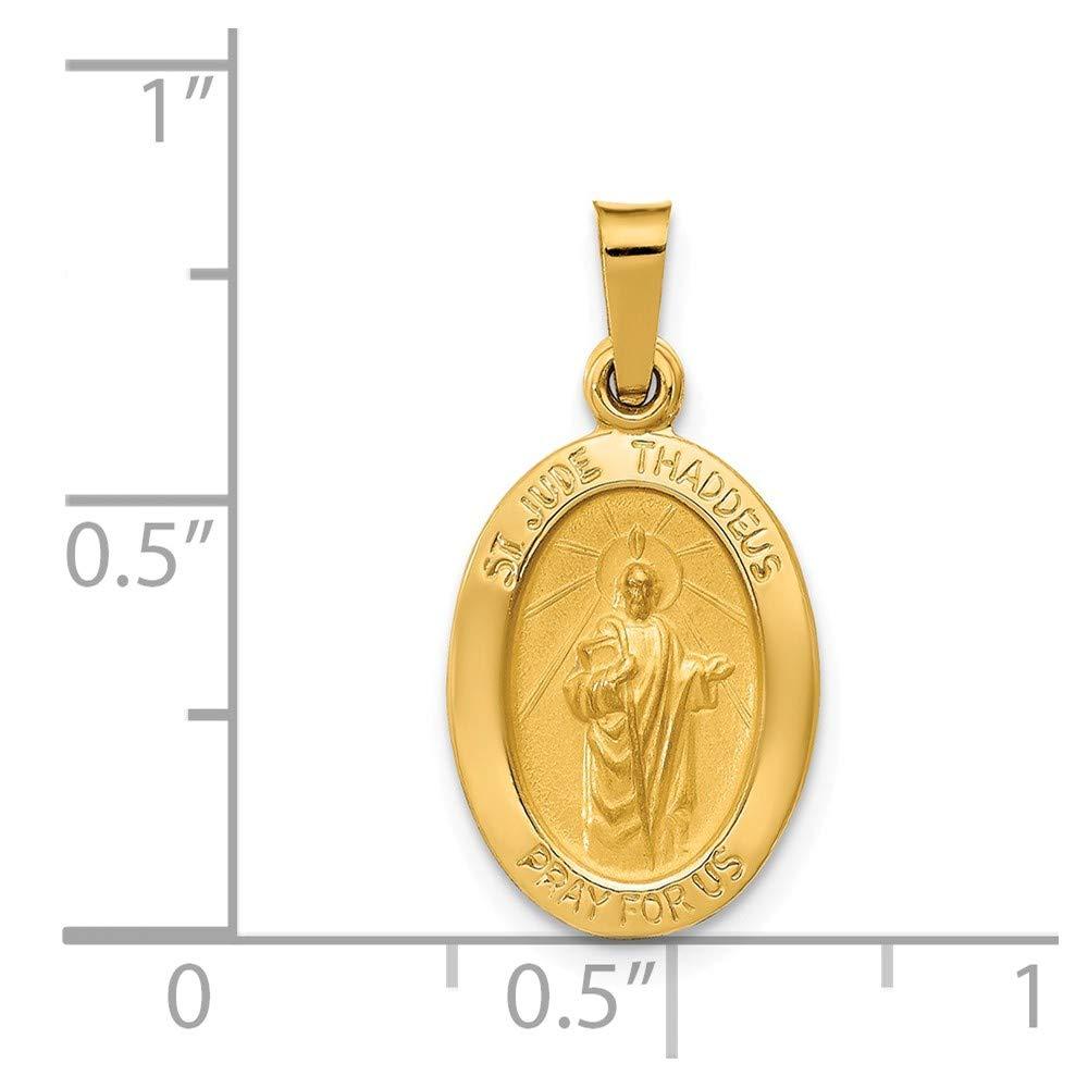 Mia Diamonds 14k Yellow Gold Polished and Satin St Jude Thaddeus Medal Pendant
