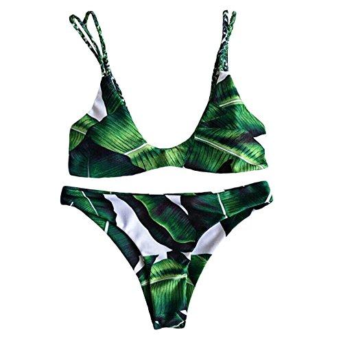 Womens Bikini Swimwear Swimsuit Tree Leaf Print - 1