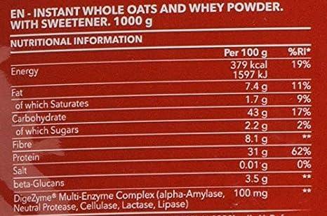Prozis Oatmeal con Whey Protein 1000g - Cereales Repletos de Hidratos de Carbono de Alta Calidad y Fibras Saciantes - Sabor Bonbon - Apto para Vegetarianos ...