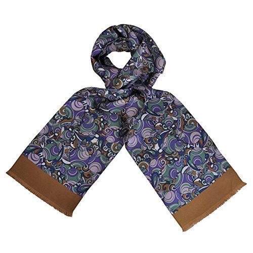 Toutacoo, CARVEN Men's 100% Silk Scarf Seventies Purple