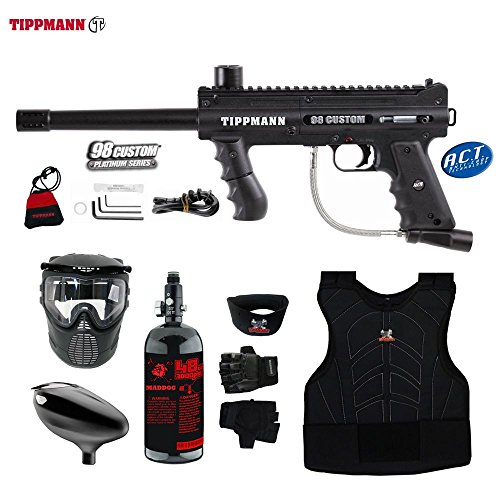 MAddog Tippmann 98 Custom ACT Beginner Protective HPA Paintball Gun Package - Black