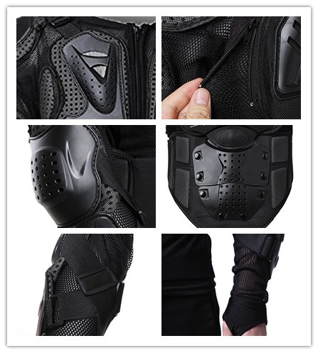Motorcycle Full Body Armor Protective Jacket Guard ATV Motocross Gear Shirt (XXL, black) by Niree (Image #5)'