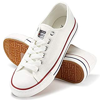 JENN ARDOR Women's Canvas Shoes Casual Sneakers Low Top Lace Up Fashion Comfortable Walking Flats (6, White)