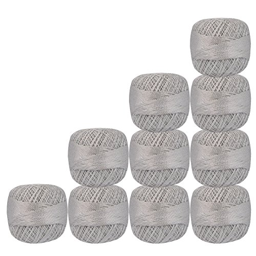 Set of 10 Pcs White with Metallic Silver Cotton Crochet Thread for Cross Stitch Knitting Tatting Doilies Skeins Lacey Craft Yarn