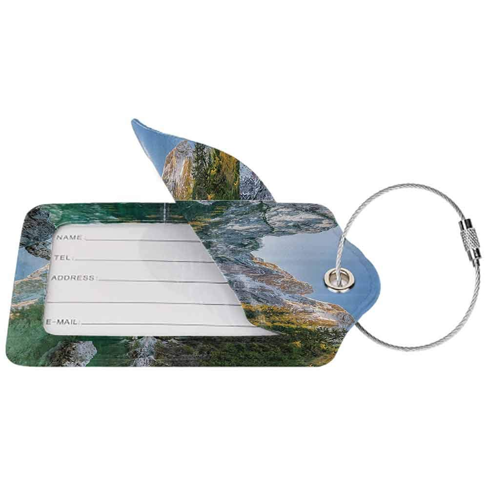 Decorative luggage tag Apartment Decor Autumn Landscape with Faded Trees and Mountains Pure Reflection in Water Dream Photo Suitable for travel Green Grey W2.7 x L4.6