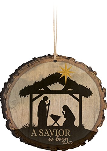 P. Graham Dunn A Savior is Born Nativity Scene Wood Tree Bark 4 inch Christmas Tree - Nativity Window