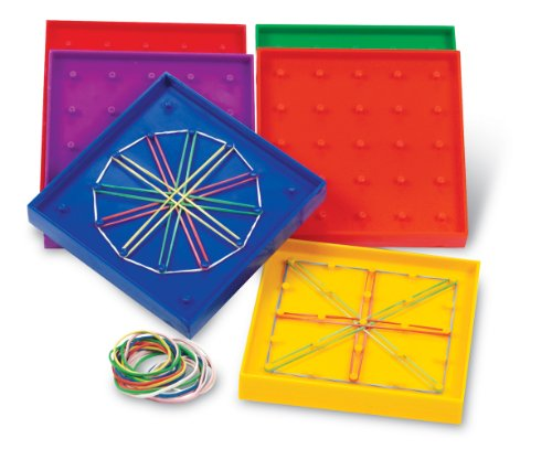 Learning Resources 5-Inch Double-Sided Assorted Geoboard - Set of 6