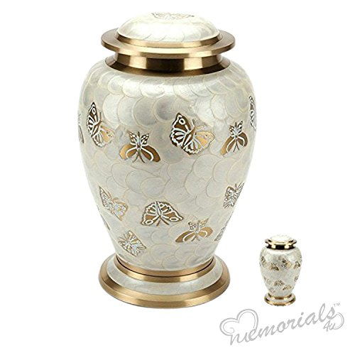 MEMORIALS 4U Golden Butterfly Cremation Urn Set for Human Ashes – Handcrafted Pearl Butterflies Adult Funeral Urn – Affordable Urn for Ashes – Large Urn Deal – Free Keepsake