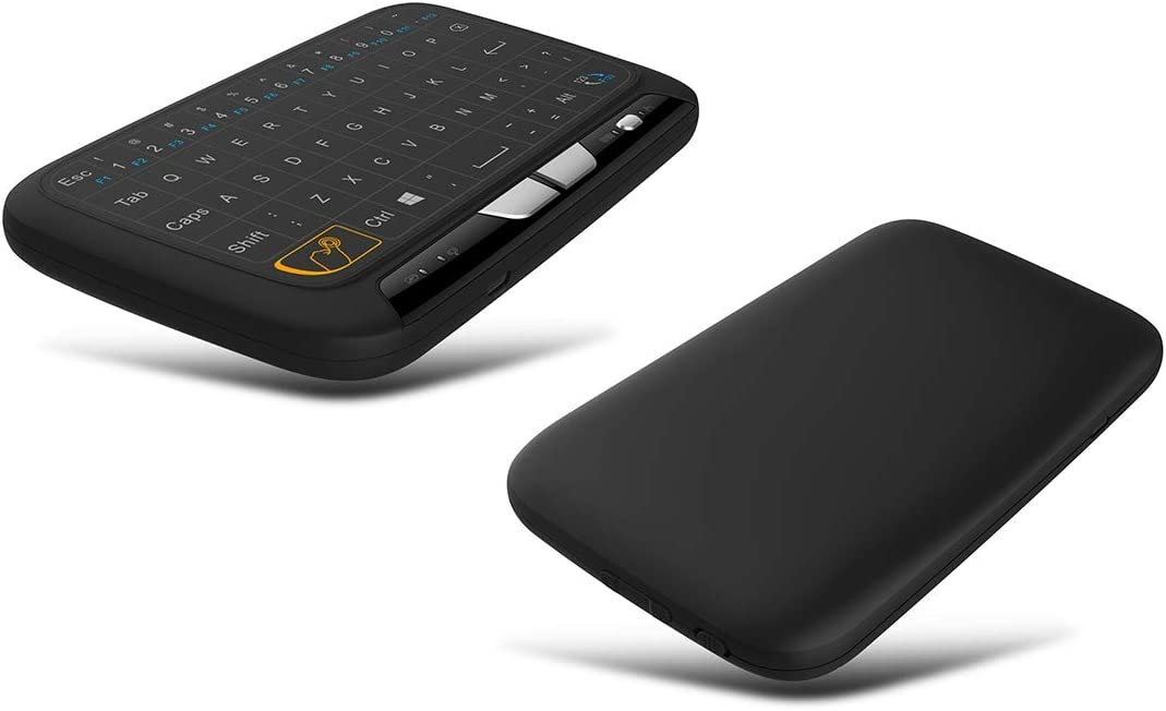 Black JINYANG Helpful H18 2.4GHz Mini Wireless Air Mouse QWERTY Keyboard with Touchpad//Vibration for PC TV Color : Black