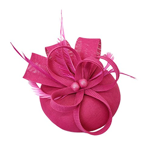 Ahugehome Fascinator Headband Hair Clip Feather Pillbox Hat Mesh Cocktail Party Wedding (KO Rose Red Fuschia) by Ahugehome