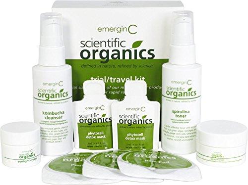 emerginC Scientific Organics Natural Skin Care Travel Set - Trial Sized Phytocell Face Cream + Detox Mask, Spirulina Toner, Kombucha Cleanser, Eyelight Cream + Exfoliating Peel Pads (6 items)