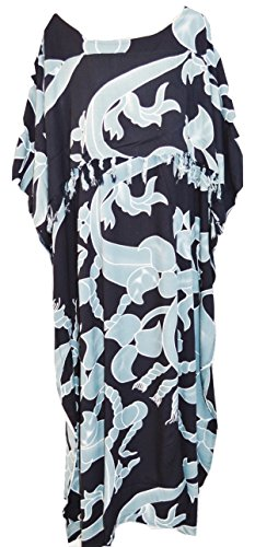 Coole Kaftane Maya Ubud Resort Kaftan Damen Kleid Lange Rüschen One Size Cool Summer Womens New Cool Oversize One size Baggy Kaftan Kaftane (Black)