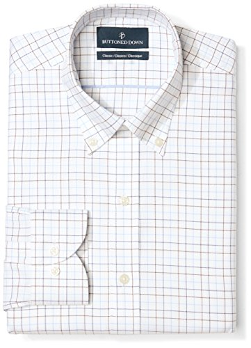 Fit Tattersall Cotton - BUTTONED DOWN Men's Classic Fit Button Collar Pattern Non-Iron Dress Shirt, White/Brown/Blue Tattersall Overcheck, 16.5