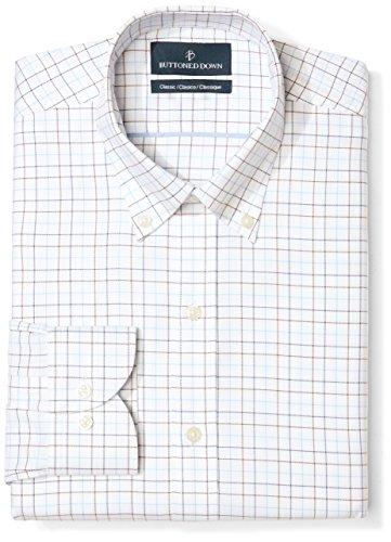 - BUTTONED DOWN Men's Classic Fit Button Collar Pattern Non-Iron Dress Shirt, White/Brown/Blue Tattersall Overcheck, 17.5
