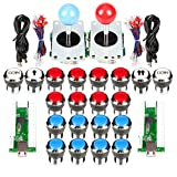 EG Starts Classic Arcade Contest DIY Retropie Cabinet Kits USB Encoder to Joystick PC Games + Chrome Plating LED Illuminated Push Button 1 & 2 Player Coin Buttons For Mame Raspberry Pi Game Project