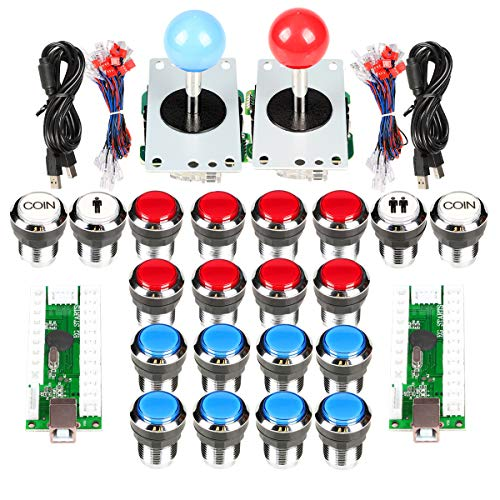 EG Starts Classic Arcade Contest DIY Retropie Cabinet Kits USB Encoder to Joystick PC Games + Chrome Plating LED Illuminated Push Button 1 & 2 Player Coin Buttons Compatible Mame Raspberry Pi Game Pro