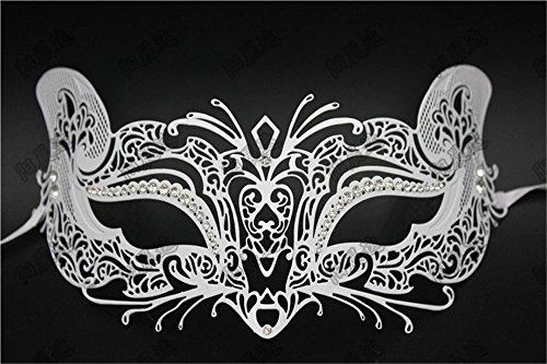 Mardi Gras Party Masquerade Mask,Halloween Mask Makeup Dance Bar Show Mask Cosplay Venice Catwoman Mask Party White Prom Masks -