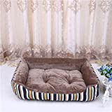 BigBig Home Vertical Stripes Warm Removable Cotton Dog Bed Pet Products Waterproof Canvas Chew Resistant Dog Bed Four Seasons Available