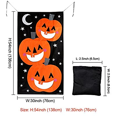AerWo Pumpkin Bean Bag Toss Games + 3 Bean Bags, Halloween Games for Kids Party Halloween Decorations: Toys & Games