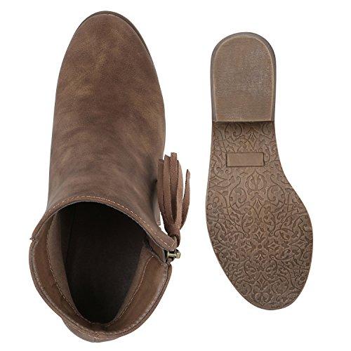 Stiefelparadies Klassische Stiefeletten Gesteppt Zipper Leder-Optik Absatz Flandell Khaki Avelar